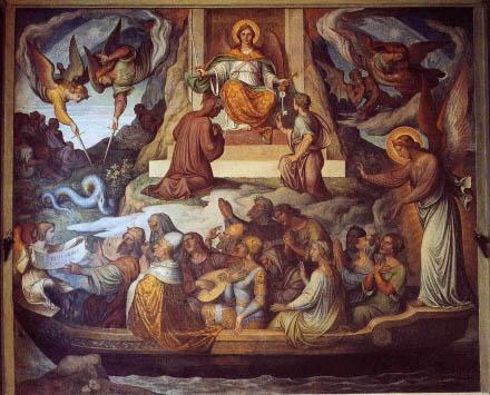 Allí un ángel custodio graba sobre su frente las marcas de los siete pecados